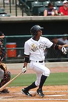 Charleston Riverdogs outfielder Eduardo Sosa at bat during a game against the Delmarva Shorebirds at Joseph P. Riley Ballpark in Charleston, South Carolina on July 10, 2011. Charleston defeated Delmarva 2-0.   Robert Gurganus/Four Seam Images