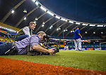 1 April 2016: Video Cameramen take footage from a low angle prior to a pre-season exhibition game between the Toronto Blue Jays and the Boston Red Sox at Olympic Stadium in Montreal, Quebec, Canada. The Red Sox defeated the Blue Jays 4-2 in the first of two MLB weekend exhibition games, which saw an attendance of 52,682 at the former home on the Montreal Expos. Mandatory Credit: Ed Wolfstein Photo *** RAW (NEF) Image File Available ***