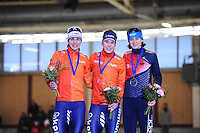 SPEEDSKATING: BERLIN: Sportforum Berlin, 28-01-2017, ISU World Cup, Podium 1500m Ladies A Division, Marrit Leenstra (NED), Ireen Wüst (NED), Martina Sáblíková (CZE), ©photo Martin de Jong
