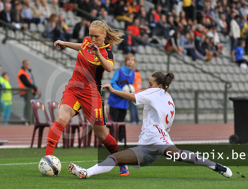 20130921 - BRUSSELS , BELGIUM : Belgian Janice Cayman pictured avoiding the tackle from Albanian Lulaj Cyme (3) during the female soccer match between Belgium and Albania , on the first matchday in group 5 of the UEFA qualifying round to the FIFA Women World Cup in Canada 2015 at the Koning Boudewijn Stadion , Brussels . Saturday 21th September 2013. PHOTO DAVID CATRY