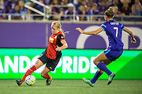 Orlando, Florida - Sunday, May 14, 2016: Western New York Flash forward Makenzy Doniak (3) looks to cut the ball in across Orlando Pride defender Stephanie Catley (7) during a National Women's Soccer League match between Orlando Pride and New York Flash at Camping World Stadium.