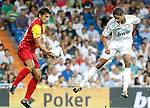 Real Madrid's Raphael Varane (r) and Galatasaray's Sabri (l) during Santiago Bernabeu Trophy.August 24,2011. (ALTERPHOTOS/Acero)