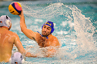 Brazil's Henrique Miranda (3) attempts to score against Romania's Nicolae Diaconu(4)  as they compete in the Olympic qualifier tournament for water polo held in Edmonton, Alberta, Canada on Friday April 6, 2012. The game was won by Romania (19) to  Brazil (8). EFE/IAN JACKSON
