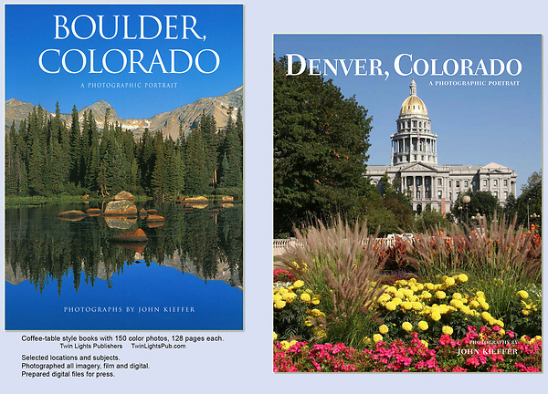 Collaborating with a respected publisher to photograph these two books was a wonderful experience. John's 6th book on Boulder is due May 2018.  I've photographed Boulder, Denver and just about all of Colorado's natural places.
