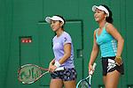 (L to R) <br /> Misaki Doi, <br /> Eri Hozumi (JPN), <br /> JULY 13, 2016 - Tennis : <br /> Training <br /> for Rio Olympic Games in Tokyo, Japan. <br /> (Photo by YUTAKA/AFLO SPORT)
