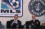 17 November 2007: DC United broadcaster Dave Johnson (l), emcee of the Summit, and MLS Commissioner Don Garber (r). The Screaming Eagles, a DC United fan group, hosted the 2007 Supporters Summit, held at Babylon Futbol Club in Falls Church, Virginia one day before MLS Cup 2007, Major League Soccer's championship game.