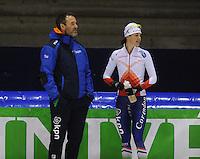 SCHAATSEN: HEERENVEEN: 11-12-2014, IJsstadion Thialf, International Speedskating training, Jan van Veen, Marrit Leenstra, ©foto Martin de Jong