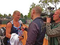 France, Paris, 27.05.2014. Tennis, French Open,Roland Garros, Kiki Bertens (NED) being interviews by Dutch television NOS<br /> Photo:Tennisimages/Henk Koster