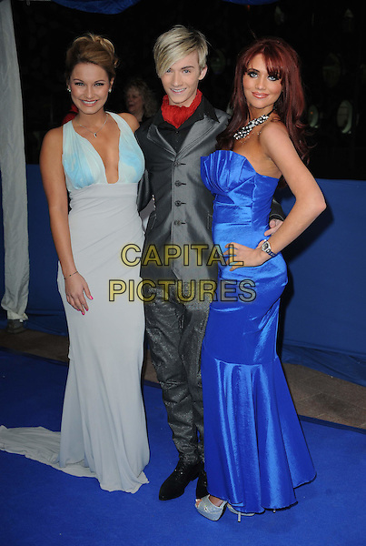SAM FAIERS, HARRY DERBRIDGE & AMY CHILDS from 'The Only Way Is Essex'.The British Comedy Awards 2011at Indigo, The O2 Arena, London.England, UK..January 22nd, 2011.arrivals full length blue maxi dress hand on hip grey gray suit red scarf black shirt strapless .CAP/WIZ.© Wizard/Capital Pictures.