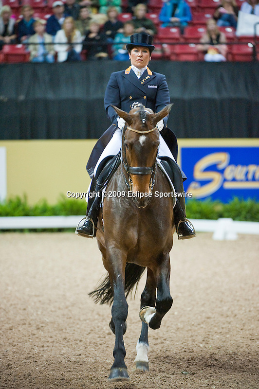 16 April 2009: Jeanette Haazen (NED) and Nartan at the Dressage Grand Prix at the Rolex FEI World Cup Finals.