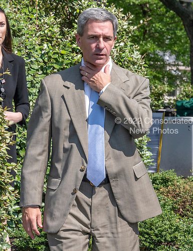 Acting Director of the United States Citizenship and Immigration Services Ken Cuccinelli walks to meet reporters on the North Driveway of the White House in Washington, DC on Wednesday, July 10, 2019.<br /> Credit: Ron Sachs / CNP