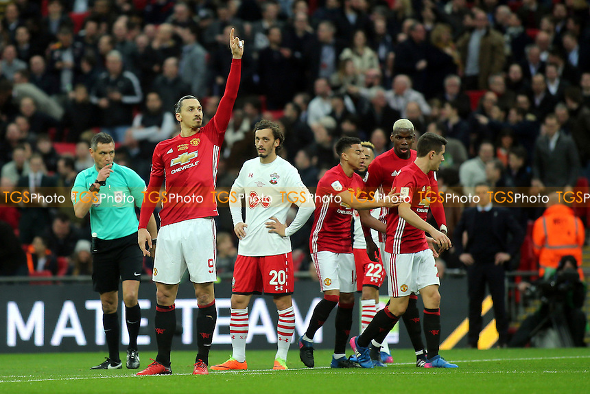 Zlatan Ibrahimovic celebrates scoring Manchester United's opening goal as he acknowledges the United fans during Manchester United vs Southampton, EFL Cup Final Football at Wembley Stadium on 26th February 2017
