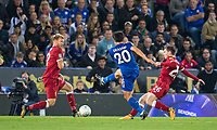 Shinji Okazaki of Leicester City scores to make it 1 0 during the football league cup Carabao Cup 3rd round match between Leicester City and Liverpool at the King Power Stadium, Leicester, England on 19 September 2017. Photo by Andy Rowland.