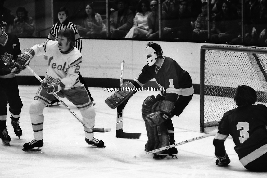 Seals vs Los Angeles Kings 1975. Seals Stan Weir in front of LA goalie Gary Edwards. (photo/Ron Riesterer)<br />
