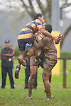 Richie Ah Chong makes what was deemed to be an illegal tackle on Toni Pulu. Counties Manukau Premier Club Rugby game between Patumahoe and Bombay played at the Patumahoe Domain on Saturday June 4th 2011 as part of the Patumahoe 125th Anniversary celebrations. Patumahoe won 24 - 3 after leading 5 - 3 at halftime.