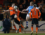 ST Johnstone appeal for a penalty as Brian McLean handballs in the box