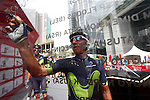 Nairo Quintana (COL) Movistar Team at sign on before the start of Stage 2 the Nation Towers Stage of the 2017 Abu Dhabi Tour, running 153km around the city of Abu Dhabi, Abu Dhabi. 24th February 2017<br /> Picture: ANSA/Matteo Bazzi | Newsfile<br /> <br /> <br /> All photos usage must carry mandatory copyright credit (&copy; Newsfile | ANSA)
