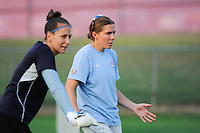 Sky Blue FC goalkeepers Jenni Branam (23) and Shannon Myers (00) talk during warm ups. Sky Blue FC and FC Gold Pride played to a 1-1 tie during a Women's Professional Soccer (WPS) match at Yurcak Field in Piscataway, NJ, on September 01, 2010.