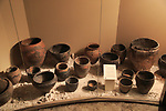 Display of pottery finds in Iron Age museum, Andover, Hampshire, England, UK