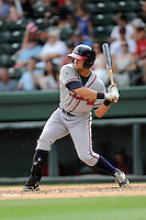 Center fielder Connor Oliver (5) of the Rome Braves bats in a game against the Greenville Drive on Sunday, June 14, 2015, at Fluor Field at the West End in Greenville, South Carolina. Rome won, 5-2. (Tom Priddy/Four Seam Images)