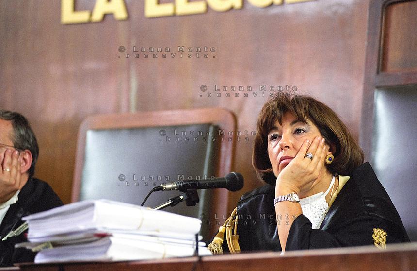 Luisa Ponti, giudice del primo processo SME. Milano, 6 giugno 2003...Luisa Ponti Judge of the first SME trial. Milan, June 6, 2003