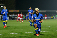 GOAL - Lyle Taylor of AFC Wimbledon celebrates his goal during the Sky Bet League 1 match between AFC Wimbledon and Charlton Athletic at the Cherry Red Records Stadium, Kingston, England on 10 April 2018. Photo by Carlton Myrie / PRiME Media Images.
