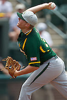 Baylor Bears pitcher Tyler Bremer #33 delivers during the NCAA Regional baseball game against Oral Roberts University on June 3, 2012 at Baylor Ball Park in Waco, Texas. Baylor defeated Oral Roberts 5-2. (Andrew Woolley/Four Seam Images)