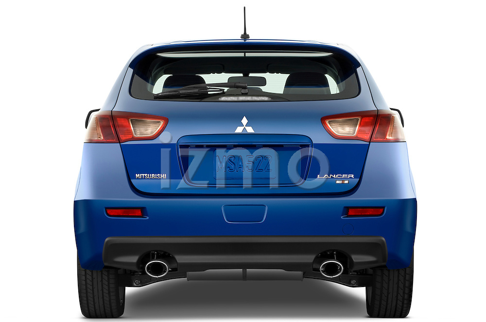 Straight rear view of a 2010 Mitsubishi Lancer Sportback GTS