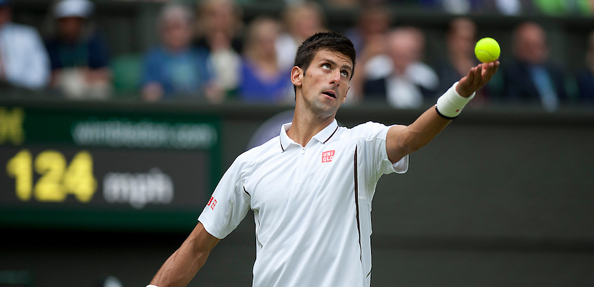 Novak Djokovic (SRB) in action during his victory over Florian Mayer (GER) in their Gentlemen's Singles First Round match today - Novak Djokovic (SRB) [1] def Florian Mayer (GER) 6-3 7-5 6-4<br /> <br />  (Photo by Stephen White/CameraSport) <br /> <br /> Tennis - Wimbledon Lawn Tennis Championships - Day 2 Tuesday 25th June 2013 -  All England Lawn Tennis and Croquet Club - Wimbledon - London - England<br /> <br /> &copy; CameraSport - 43 Linden Ave. Countesthorpe. Leicester. England. LE8 5PG - Tel: +44 (0) 116 277 4147 - admin@camerasport.com - www.camerasport.com.