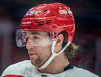 WASHINGTON, DC - JANUARY 31: Brendan Leipsic #28 of the Washington Capitals  during a pause in the game during a game between New York Islanders and Washington Capitals at Capital One Arena on January 31, 2020 in Washington, DC.