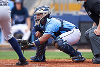 Charlotte Stone Crabs catcher David Rodriguez (10) awaits the pitch during a game against the Lakeland Flying Tigers on April 16, 2017 at Charlotte Sports Park in Port Charlotte, Florida.  Lakeland defeated Charlotte 4-2.  (Mike Janes/Four Seam Images)