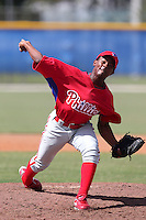 Philadelphia Phillies pitcher Ulises Joaquin #65 during an Instructional League game against the Toronto Blue Jays at Englebert Complex on October 12, 2011 in Dunedin, Florida.  (Mike Janes/Four Seam Images)
