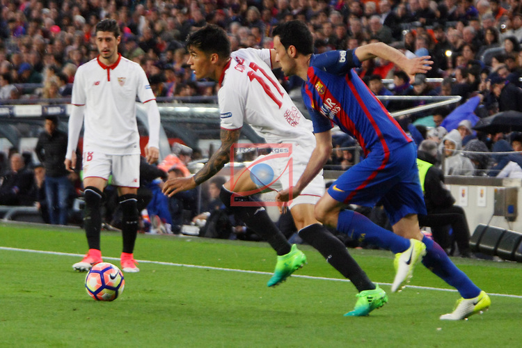 League Santander 2016/2017. Game: 30.<br /> FC Barcelona vs Sevilla FC: 3-0.<br /> Correa vs Sergio Busquets.