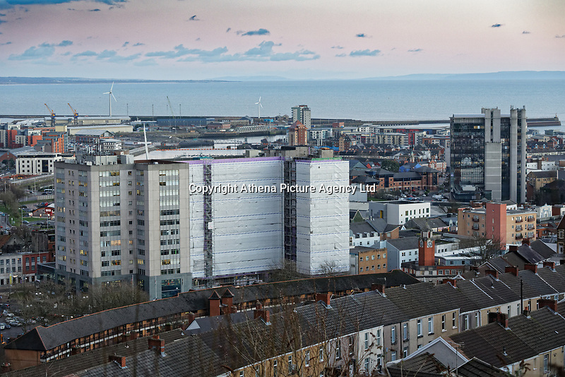 General view of The Oldway Centre and BT tower, Swansea, Wales, UK. Wednesday 30 January 2019