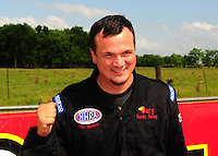 Apr. 29, 2012; Baytown, TX, USA: NHRA stock eliminator driver Hagen Gary celebrates after winning the Spring Nationals at Royal Purple Raceway. Mandatory Credit: Mark J. Rebilas-