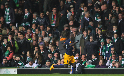 27.11.2014. Glasgow, Scotland. Europa League Group Stages Qualifying Round. Celtic versus FC Red Bull Salzburg. Naby Keita celebrates his goal to make it 3-1
