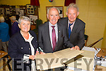Gemma McElligott Retired teacher of Ballyfinnane,Joe O'Sullivan retired Principal and Kieran Kelleher also retired Principal of Ballyfinane NS. looking over the registers from the past at the Ballyfinane NS 50th celebrations on Friday