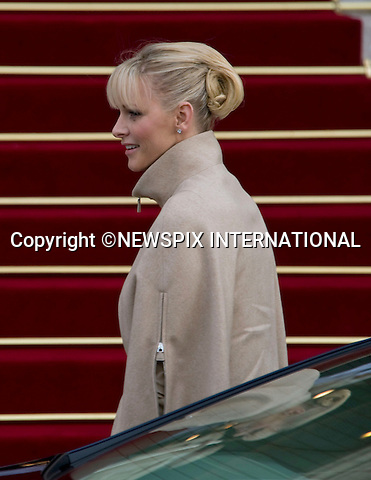 "PRINCESS CHARLENE .together with other members of the Monaco Royal Family attend mass at the Cathedrale, on the occasion of the National Day, Monte Carlo, Monaco_19/11/2011.Mandatory Credit Photos: ©Francis Dias/NEWSPIX INTERNATIONAL..**ALL FEES PAYABLE TO: ""NEWSPIX INTERNATIONAL""**..PHOTO CREDIT MANDATORY!!: NEWSPIX INTERNATIONAL(Failure to credit will incur a surcharge of 100% of reproduction fees)..IMMEDIATE CONFIRMATION OF USAGE REQUIRED:.Newspix International, 31 Chinnery Hill, Bishop's Stortford, ENGLAND CM23 3PS.Tel:+441279 324672  ; Fax: +441279656877.Mobile:  0777568 1153.e-mail: info@newspixinternational.co.uk"