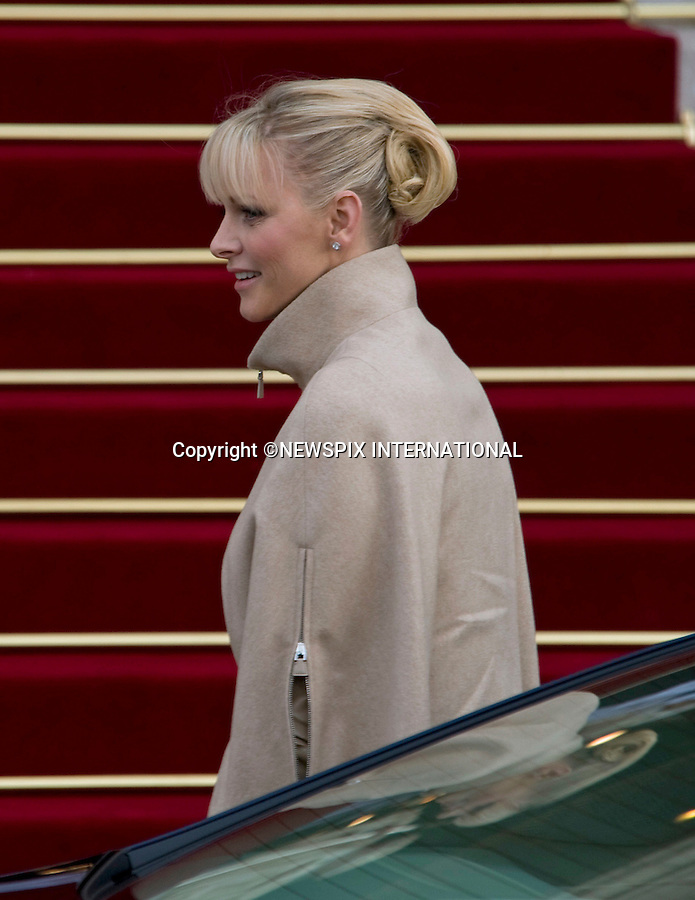 """PRINCESS CHARLENE .together with other members of the Monaco Royal Family attend mass at the Cathedrale, on the occasion of the National Day, Monte Carlo, Monaco_19/11/2011.Mandatory Credit Photos: ©Francis Dias/NEWSPIX INTERNATIONAL..**ALL FEES PAYABLE TO: """"NEWSPIX INTERNATIONAL""""**..PHOTO CREDIT MANDATORY!!: NEWSPIX INTERNATIONAL(Failure to credit will incur a surcharge of 100% of reproduction fees)..IMMEDIATE CONFIRMATION OF USAGE REQUIRED:.Newspix International, 31 Chinnery Hill, Bishop's Stortford, ENGLAND CM23 3PS.Tel:+441279 324672  ; Fax: +441279656877.Mobile:  0777568 1153.e-mail: info@newspixinternational.co.uk"""