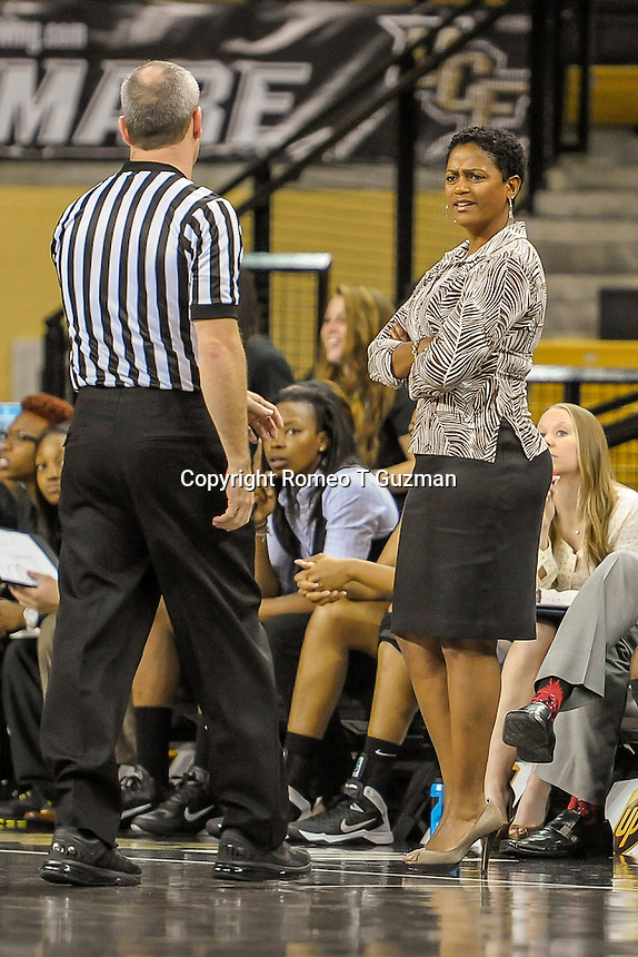November 15, 2013 - Orlando, FL, U.S: UCF head coach Joi Williams reacts to a foul call during first half women's NCAA basketball game action between the FIU Panthers and the UCF Knights at CFE Arena in Orlando, Fl.