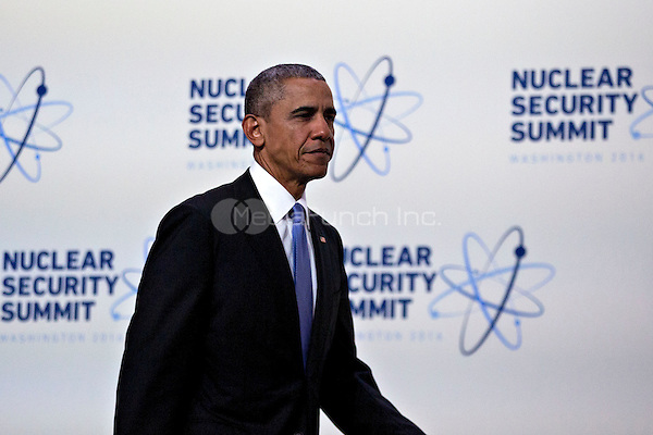 United States President Barack Obama arrives to speak during a news conference at the Nuclear Security Summit in Washington, D.C., U.S., on Friday, April 1, 2016. After a spate of terrorist attacks from Europe to Africa, Obama is rallying international support during the summit for an effort to keep Islamic State and similar groups from obtaining nuclear material and other weapons of mass destruction. <br /> Credit: Andrew Harrer / Pool via CNP/MediaPunch