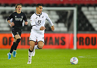 2nd January 2020; Liberty Stadium, Swansea, Glamorgan, Wales; English Football League Championship, Swansea City versus Charlton Athletic; Ben Cabango of Swansea City brings the ball forward -Strictly Editorial Use Only. No use with unauthorized audio, video, data, fixture lists, club/league logos or 'live' services. Online in-match use limited to 120 images, no video emulation. No use in betting, games or single club/league/player publications