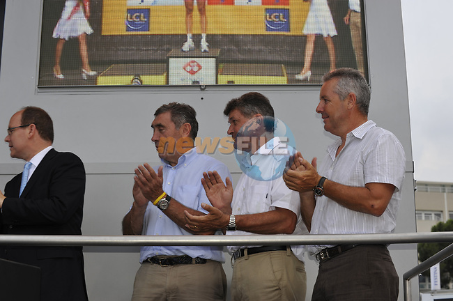 L-R  Prince Albert of Monaco, Eddy Merckx, Bernard Thevenet and Stephen Roche on the podium at the end of the Prologue Stage 1 of the 2009 Tour de France a 15.5km individual time trial held around Monaco. 4th July 2009 (Photo by Eoin Clarke/NEWSFILE)