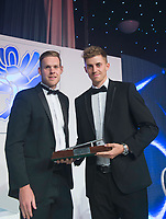 Picture by Allan McKenzie/SWpix.com - 05/10/17 - Cricket - Yorkshire County Cricket Club Gala Dinner 2017 - Elland Road, Leeds, England - Ben Coad takes the Yorkshire Player of the Year Award.