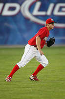 September 1, 2009:  Left Fielder Kyle Conley of the Batavia Muckdogs in the field during a game at Dwyer Stadium in Batavia, NY.  The Muckdogs are the Short-Season Class-A affiliate of the St. Louis Cardinals.  Photo By Mike Janes/Four Seam Images