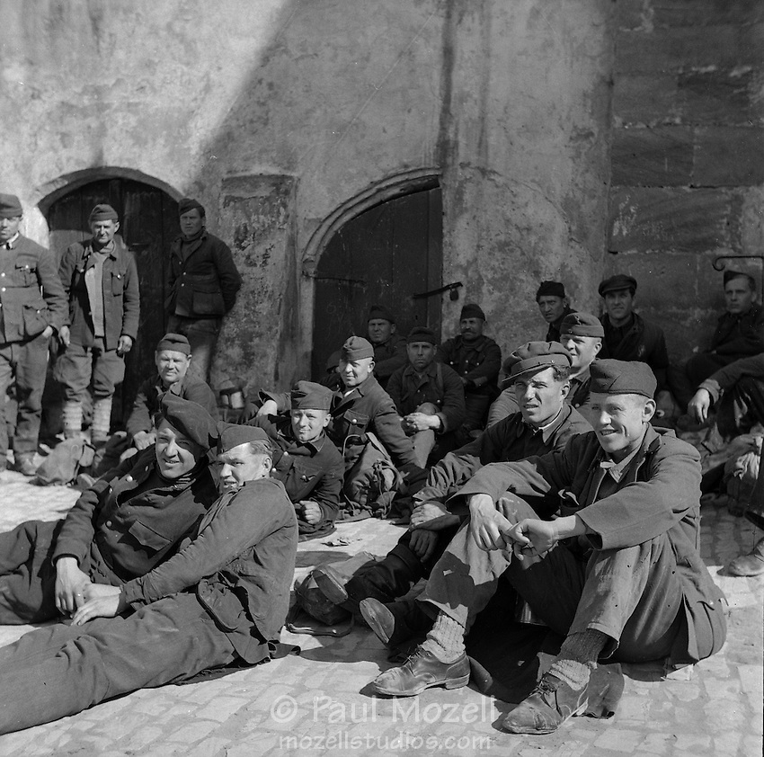 April 1945, Germany. Russian soldiers, just liberated by Allied troops, after being works as slave laborers by the Nazis.