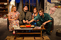 London, UK. 17.07.2014. Mountview Academy of Theatre Arts presents THE HOUSE OF BLUE LEAVES, by John Guare, directed by Jacqui Somerville, at the Unicorn Theatre, as part of the Postgraduate Season 2014. Picture shows: Cat Losty (Bunny Flingus), Jon Adams (Billy Einhorn), Rosalinde Case (Bananas Shaughnessy) and Tim Gibson (Artie Shaughnessy). Photograph © Jane Hobson.