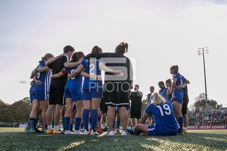 Allston, MA - Saturday August 19, 2017: Boston Breakers post game during a regular season National Women's Soccer League (NWSL) match between the Boston Breakers and the Orlando Pride at Jordan Field.