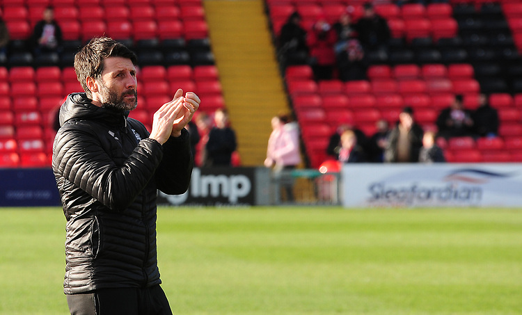 Lincoln City manager Danny Cowley during the pre-match warm-up<br /> <br /> Photographer Andrew Vaughan/CameraSport<br /> <br /> The EFL Sky Bet League Two - Lincoln City v Northampton Town - Saturday 9th February 2019 - Sincil Bank - Lincoln<br /> <br /> World Copyright © 2019 CameraSport. All rights reserved. 43 Linden Ave. Countesthorpe. Leicester. England. LE8 5PG - Tel: +44 (0) 116 277 4147 - admin@camerasport.com - www.camerasport.com