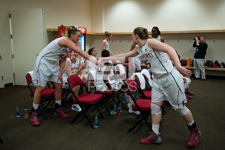 FRESNO, CA--Lindy LaRocque congratulates teammate Joslyn Tinkle in the halftime locker room en route to a 81-69 win over Duke at the Save Mart Center for the West Regionals Championship of the 2012 NCAA Championships. The Cardinal advances to the Final Four in Denver, facing Baylor in the semifinals.